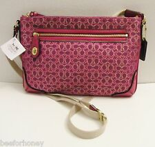 NWT Coach 50288 Poppy Signature East West Swingpack Magenta