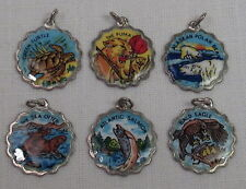 Set of 6 Vintage REU Sterling/Enamel North American Wildlife - Eagle, Sea Turtle