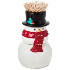 NEW Hallmark Ceramic Snowman Stacking Salt & Pepper and Toothpick Holder