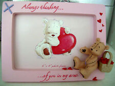Photo Frame  Bear And Basket of hearts - 'Always thinking of you in my arms'