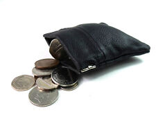 MENS LADIES BLACK REAL LEATHER COIN POUCH WALLET PURSE