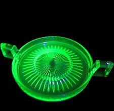 Vintage Vaseline Green Uranium Glass Heisey Narrow Flute, Sugar Tray & Creamer