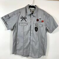 PARISH NATION Men's S/S Button Front Sz 2XL Gray Embellished Patches Stitching