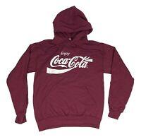 Men's Coca-Cola Coke Distressed Logo Pullover Hooded Sweatshirt Burgundy