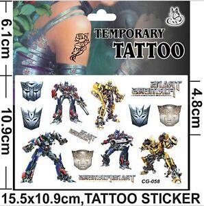 NEW TRANSFORMERS Temporary Tattoo Sheet Children Kids Birthday Party Bag