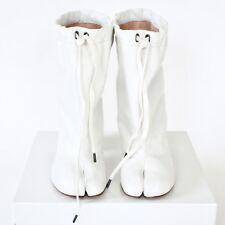 MAISON MARTIN MARGIELA split toe white leather high heel shoes tabi boots 36 NEW