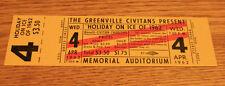 Vintage Ticket Stub - Holiday on Ice - Greenville SC - Memorial Audit - 1962