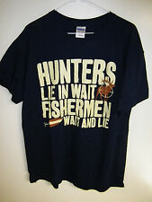 MENS HUNTER/FISHERMAN T-SHIRT SIZE L NEW WITHOUT TAGS NAVY BLUE