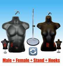 2 Mannequins +1 Stand + 2 Hangers Male Female Black Form Display's Shirt & Dress