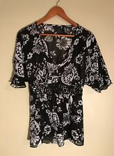 Apostrophe Sheer Black And White V Neck Blouse W/ Beads, Size L