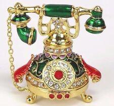 "Telephone Trinket Box in Green w/ Gold Tone Metallic & Rhinestones 2.5""H New"