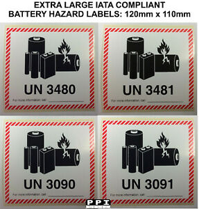 EXTRA LARGE Lithium Battery Labels Stickers 110x120 UN 3480 3481 3090 3091