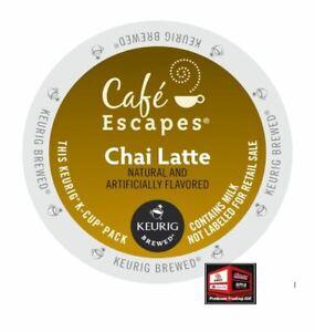 New, Café Escapes Chai Latte K-Cup, 24 Cups, Expires: 1/26/21