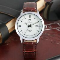Casual YAZOLE Men's Analog Quartz Watch Date Business  Watches Leather Band Gift