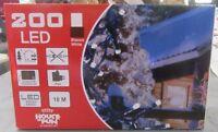 200 LED Blanches Avec Jeux De Lumière Longueur Câble 10 MT Feux Noël IP44 Neuf