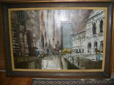 "Signed Oil Painting on Canvas by Robert Lebron ""Chicago Art Institute"" Framed"