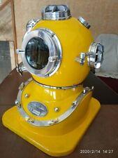Nautical Vintage Maritime Yellow Finish Deep sea scuba Diverse Helmet With base