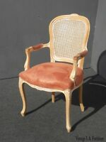 Vintage French Provincial Cane Back Off White Accent Chair Coral Fabric