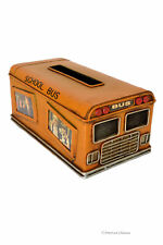 Vintage School Bus Kleenex Tissue Dispenser Box Cover Holder w/ Photo Frames