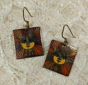 Vintage Laurel Burch Sun Goddess Gold Tone Tribal Dangle Pierced Earrings