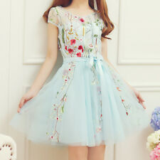 Japanese Lolita Sweet Girl Ladies Princess embroidered flower lace dress