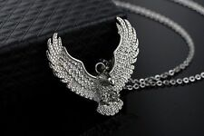 Mens Stainless Steel Black Silver Eagle Pendant Link Chain Necklace + Box #N52