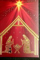 HALLMARK Boxed Set 16 CHRISTMAS CARDS Religious STAR OF BETHLEHEM NATIVITY Foil