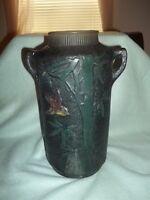 vintage black  terra-cotta/clay decorated Japanese vase hand painted bird & tree
