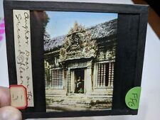 Colored Glass Magic Lantern Slide Ffg Angkor Wat Man At Door Cambodia