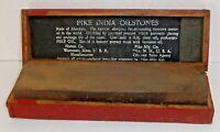 Vintage Pike India Oilstone #0 Combination Sharpening Stone w/ Original Wood Box