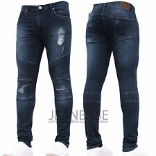 Mens Super SKINNY Stretch Ripped Biker Blue Denim Jeans All Waist Sizes Darkwash (biker) 36 In. 34l