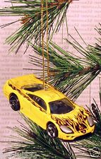 SALEEN S7 Sports Car CHRISTMAS ORNAMENT Yellow w Black Flames XMAS