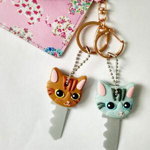 6 Color Puppy Pug Cat Rabbit Keychain Key Ring PVC Key Case Unisex Key Cover Cap