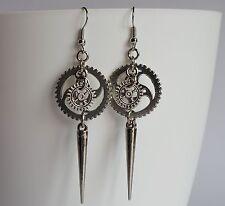 Cogwheel Gear Antique Silver Earrings with spike Goth Steampunk