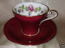 AYNSLEY C1149 CUP & SAUCER ROSES BLUE THISTLE SHAMROCK CLOVER MAROON RED OUTSIDE