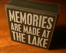 MEMORIES ARE MADE AT THE LAKE Rustic Lodge Log Cabin Home Decor Box Sign NEW