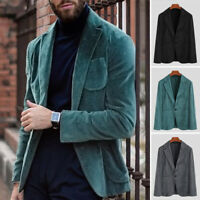 Mode Hommes Blazer velours en velours côtelé Smart Manteau Manteau Party Manteau
