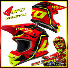 CASCO CROSS ENDURO MOTARD UFO INTERCEPTOR 2 GENIX RED YELLOW TAGLIA M (57-58)