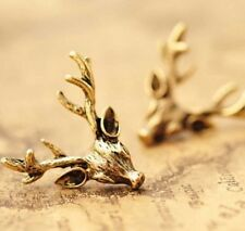 Vintage Earings Retro Bronze Deer Antlers Earrings Elegant Ear Stud Earings _S