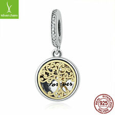 LadyNEW Authentic 925 Sterling Silver & 14K Gold Family Root Clear CZ Bead Charm