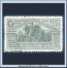 1930 Italia Regno Virgilio L. 10 + 2,50 verde oliva n. 290 Usato