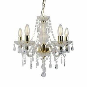 Modern Classic Clear & Gold Marie Therese 5 Light Ceiling Pendant Chandelier