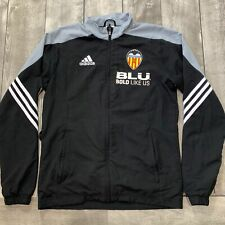 RARE Valencia FC Black Soccer BLU Adidas Training Full Zip Jacket Men Size Small
