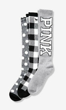 VICTORIA'S SECRET PINK GRAY BLACK POLKA DOT PLAID KNEE-HIGH SOCKS SET O/S 3 PAIR