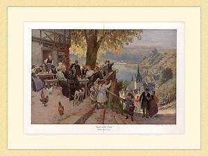 Wirtshaus Abend an der Mosel Weinlokal Burg Gemälde Paul Hey 1912 G 228