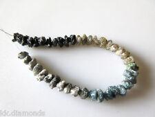 "40 cts 4-5mm 16"" Raw Uncut Ombre Diamond Beads/Blue Gray Brown Black Diamond N09"