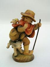"Anri Ferrandiz 3"" Wooden Figurine Spreading The Word Hiking Boy w/ Lamb & Bird"