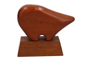 Modernist Wooden Sculpture of a Polar Bear Vintage