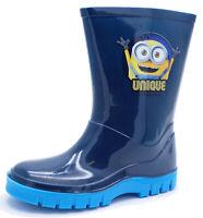 KIDS BOYS CHILDRENS NAVY MINIONS SPLASH RAIN WELLINGTON BOOTS SHOES UK 6-13