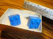 BLUE LEGO Block Design Cufflinks 1 Pair (Two) Hamilton Silver Plated $3.00  New
